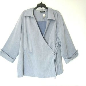 Avenue Wrap Top Blouse 26 28 4X Blue White NEW
